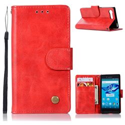 Luxury Retro Leather Wallet Case for Sony Xperia X Compact X Mini - Red