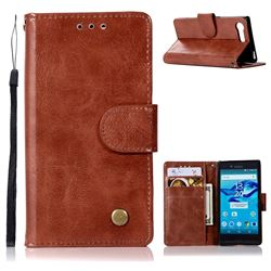 Luxury Retro Leather Wallet Case for Sony Xperia X Compact X Mini - Brown