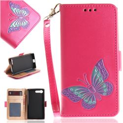 Imprint Embossing Butterfly Leather Wallet Case for Sony Xperia X Compact X Mini - Rose Red