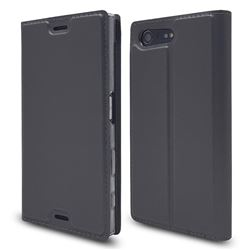 Ultra Slim Card Magnetic Automatic Suction Leather Wallet Case for Sony Xperia X Compact X Mini - Star Grey