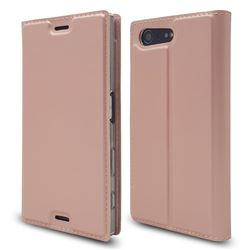 Ultra Slim Card Magnetic Automatic Suction Leather Wallet Case for Sony Xperia X Compact X Mini - Rose Gold
