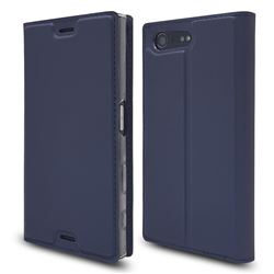 Ultra Slim Card Magnetic Automatic Suction Leather Wallet Case for Sony Xperia X Compact X Mini - Royal Blue