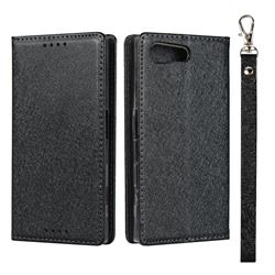 Ultra Slim Magnetic Automatic Suction Silk Lanyard Leather Flip Cover for Sony Xperia X Compact X Mini - Black