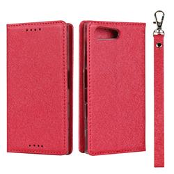 Ultra Slim Magnetic Automatic Suction Silk Lanyard Leather Flip Cover for Sony Xperia X Compact X Mini - Red
