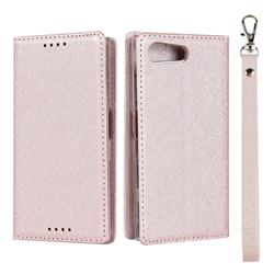 Ultra Slim Magnetic Automatic Suction Silk Lanyard Leather Flip Cover for Sony Xperia X Compact X Mini - Rose Gold