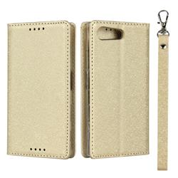Ultra Slim Magnetic Automatic Suction Silk Lanyard Leather Flip Cover for Sony Xperia X Compact X Mini - Golden