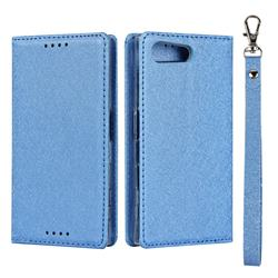 Ultra Slim Magnetic Automatic Suction Silk Lanyard Leather Flip Cover for Sony Xperia X Compact X Mini - Sky Blue