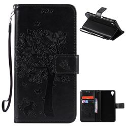 Embossing Butterfly Tree Leather Wallet Case for Sony Xperia X Performance - Black