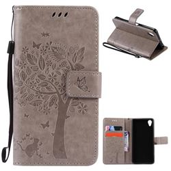 Embossing Butterfly Tree Leather Wallet Case for Sony Xperia X Performance - Grey