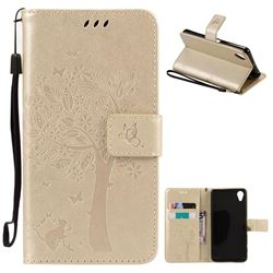 Embossing Butterfly Tree Leather Wallet Case for Sony Xperia X Performance - Champagne