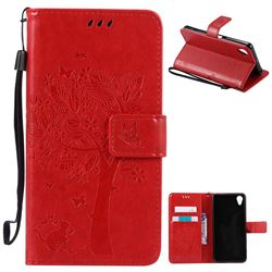 Embossing Butterfly Tree Leather Wallet Case for Sony Xperia X Performance - Red
