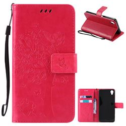 Embossing Butterfly Tree Leather Wallet Case for Sony Xperia X Performance - Rose