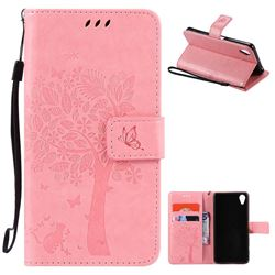 Embossing Butterfly Tree Leather Wallet Case for Sony Xperia X Performance - Pink