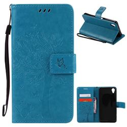 Embossing Butterfly Tree Leather Wallet Case for Sony Xperia X Performance - Blue