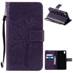 Embossing Butterfly Tree Leather Wallet Case for Sony Xperia X Performance - Purple