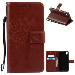 Embossing Butterfly Tree Leather Wallet Case for Sony Xperia X Performance - Brown