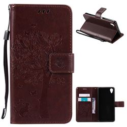Embossing Butterfly Tree Leather Wallet Case for Sony Xperia X Performance - Coffee