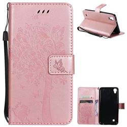 Embossing Butterfly Tree Leather Wallet Case for Sony Xperia X Performance - Rose Pink