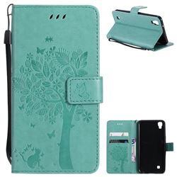 Embossing Butterfly Tree Leather Wallet Case for Sony Xperia X Performance - Cyan