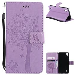 Embossing Butterfly Tree Leather Wallet Case for Sony Xperia X Performance - Violet