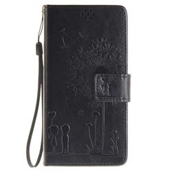 Embossing Couple Dandelion Leather Wallet Case for Sony Xperia X Performance - Black
