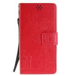 Embossing Couple Dandelion Leather Wallet Case for Sony Xperia X Performance - Red