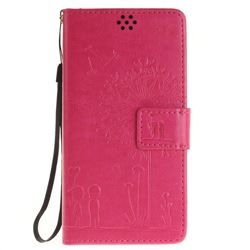 Embossing Couple Dandelion Leather Wallet Case for Sony Xperia X Performance - Rose