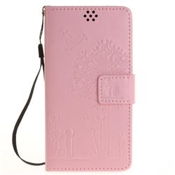 Embossing Couple Dandelion Leather Wallet Case for Sony Xperia X Performance - Pink