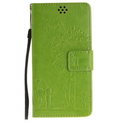 Embossing Couple Dandelion Leather Wallet Case for Sony Xperia X Performance - Green
