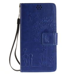 Embossing Couple Dandelion Leather Wallet Case for Sony Xperia X Performance - Blue