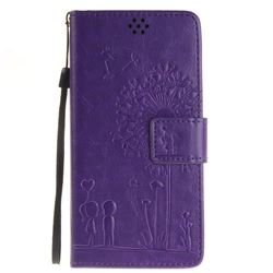 Embossing Couple Dandelion Leather Wallet Case for Sony Xperia X Performance - Purple