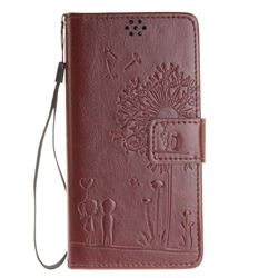 Embossing Couple Dandelion Leather Wallet Case for Sony Xperia X Performance - Coffee