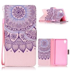 Purple Sunflower Leather Wallet Phone Case for Sony Xperia X Performance