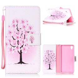 Peach Flower Leather Wallet Phone Case for Sony Xperia X Performance