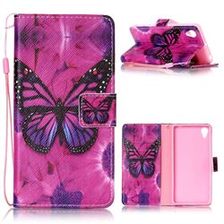 Black Butterfly Leather Wallet Phone Case for Sony Xperia X Performance