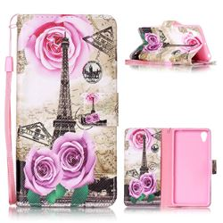 Rose Eiffel Tower Leather Wallet Phone Case for Sony Xperia X Performance