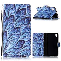 Blue Feather Leather Wallet Phone Case for Sony Xperia X Performance