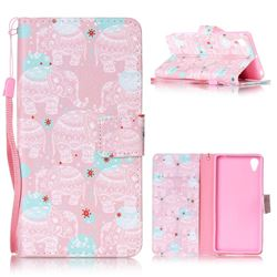 Pink Elephant Leather Wallet Phone Case for Sony Xperia X Performance