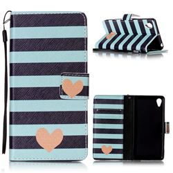 Blue Stripe Heart Leather Wallet Phone Case for Sony Xperia X Performance