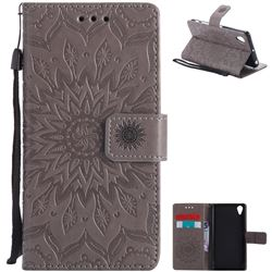 Embossing Sunflower Leather Wallet Case for Sony Xperia X Performance - Gray