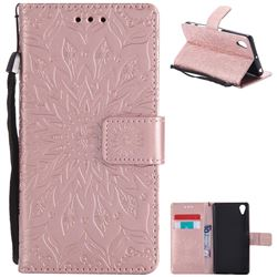Embossing Sunflower Leather Wallet Case for Sony Xperia X Performance - Rose Gold