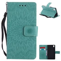Embossing Sunflower Leather Wallet Case for Sony Xperia X Performance - Green