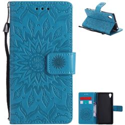 Embossing Sunflower Leather Wallet Case for Sony Xperia X Performance - Blue