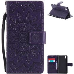 Embossing Sunflower Leather Wallet Case for Sony Xperia X Performance - Purple