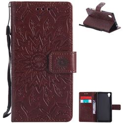 Embossing Sunflower Leather Wallet Case for Sony Xperia X Performance - Brown