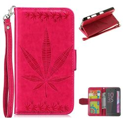 Intricate Embossing Maple Leather Wallet Case for Sony Xperia X Performance - Rose