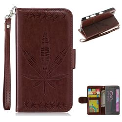 Intricate Embossing Maple Leather Wallet Case for Sony Xperia X Performance - Brown