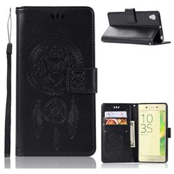 Intricate Embossing Owl Campanula Leather Wallet Case for Sony Xperia X Performance - Black