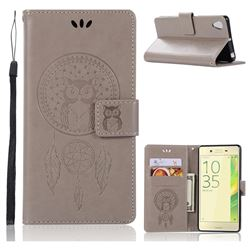 Intricate Embossing Owl Campanula Leather Wallet Case for Sony Xperia X Performance - Grey