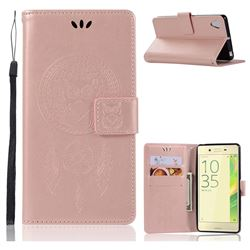 Intricate Embossing Owl Campanula Leather Wallet Case for Sony Xperia X Performance - Rose Gold